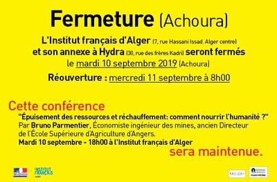 Fermeture (Achoura) - Conférence du mardi 10 septembre maintenue