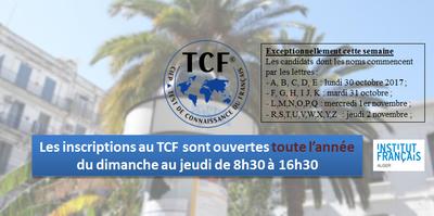 Inscriptions au Test de Connaissance du français (TCF)