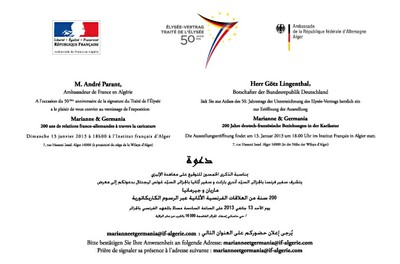 """Invitation Vernissage Exposition """"Marianne & Germania"""" 200 ans de relations franco-allemandes à travers la caricature"""