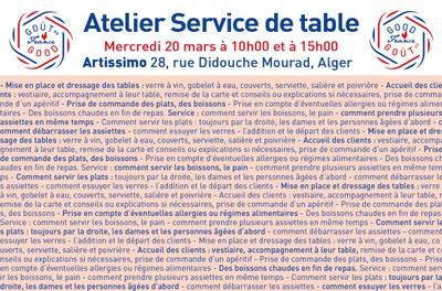 """ATELIER """"SERVICE DE TABLE"""" chez Artissimo au 28, rue Didouche Mourad Alger"""