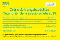 Cours de français adultes - calendrier de la session d'été 2018
