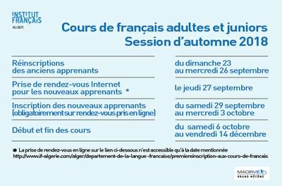 Cours de français adultes et juniors - Session d'automne 2018