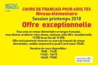 Offre exclusivement réservée au cours de français de niveau élémentaire