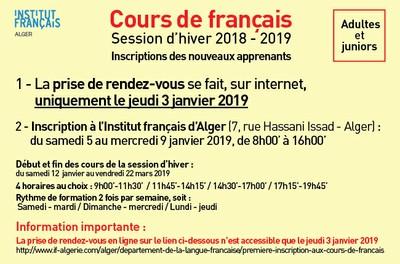 Cours de français. Session d'hiver 2018 - 2019. Inscriptions des nouveaux apprenants: adultes et juniors