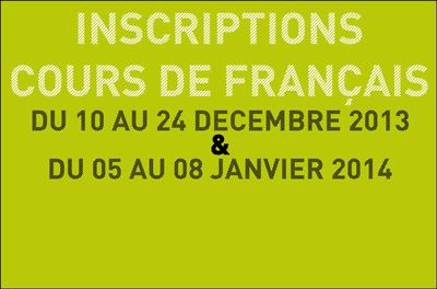 Inscriptions cours de français