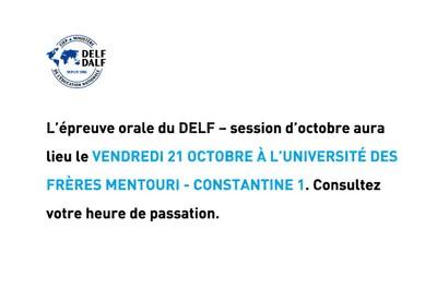 DELF - Session d'octobre