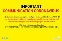 IMPORTANT : COMMUNICATION CORONAVIRUS