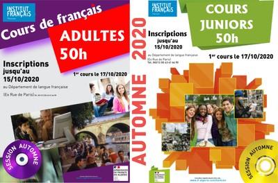 Inscriptions aux cours de français session Automne 2020
