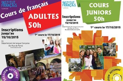 Inscriptions aux Cours de Français jusqu'au 15/10/2015